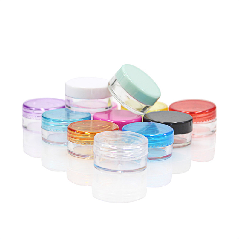 US $20 7 10% OFF|100PCS/LOT 5G Cream Jars,Multicolor Caps,Clear Plastic  Cosmetic Container,Small Nail Art Canister,Sample Makeup Sub bottling-in