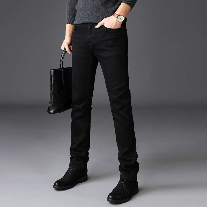2020 New Trousers Grey Fleece Men Clothes  Black Elasticity Warm Thinker Winter Jeans Busines With Or No Velvet 2 Model Jeans 32