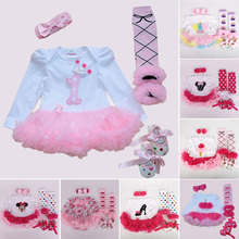 Tutu Baby Birthday Set Spring Brand Baby 4Pcs Clothing sets Tutu Romper Roupas Bebe Menina Infant 0-2T Newborn Baby Clothing Set