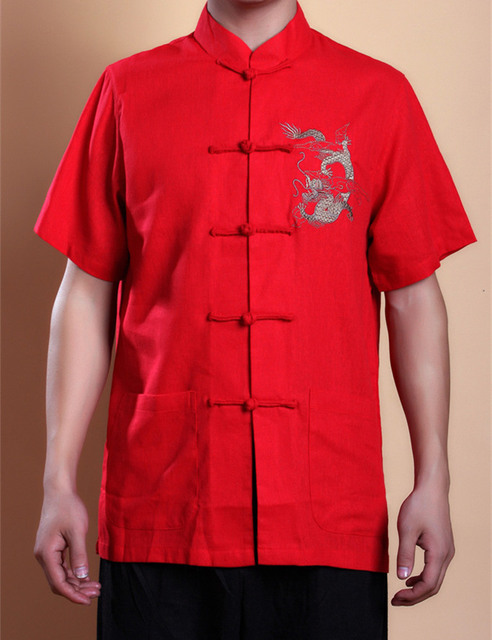 Hot Sale Red Vintage Chinese Style Men's Kung Fu Shirt Cotton Hombre Camisa Short Sleeve Clothing Size S M L XL XXL XXXL 2999-5