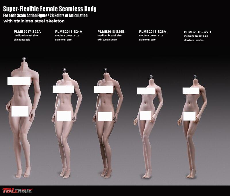 "Phicen TBLeague 1//6 Female Body S24A S25B S26A S27B Mid Bust 12/"" Action Figures"