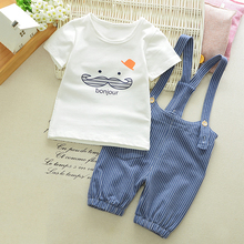 2017 Summer Baby Girls Boys Sets Cotton Infant Kawaii Beard T Shirt Top + Stripe Straps Suspenders Overall Casual Baby Suits D25