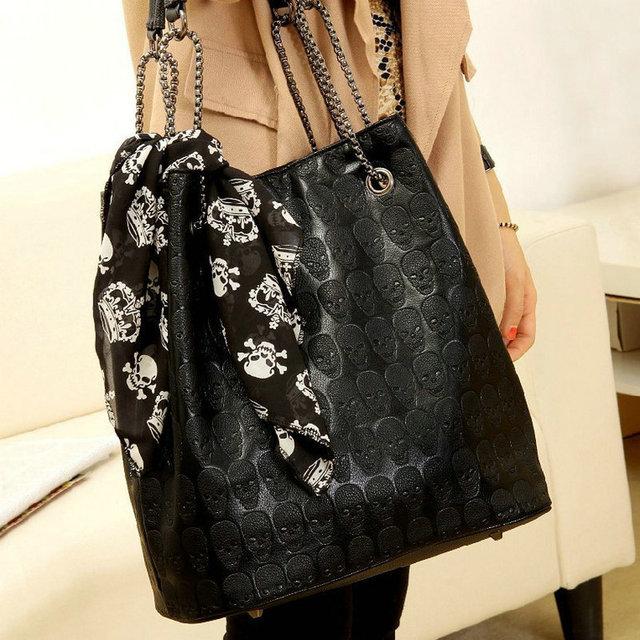 2018 Vintage Designs Skull Bag Pu Leather With Silk Scarf Shoulder Female Bags Women Black