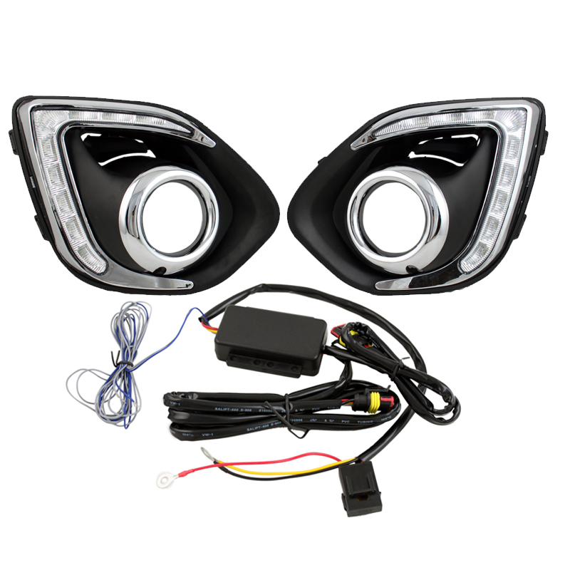 ФОТО Car LED Daytime Running Light Car Styling DRL with Amber Turn Signal for Mitsubishi ASX 13-15 with Fog Lamp Hole