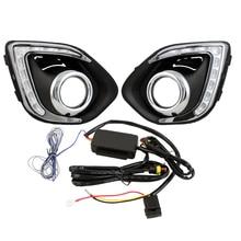 Coche conducido luz corriente diurna del coche styling drl con ámbar señal de vuelta para mitsubishi asx 13-15 con niebla agujero de la lámpara