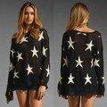 Este Punto AS-012 Mujeres Moda Pullover Géneros de Punto Suéter de la Estrella Tops