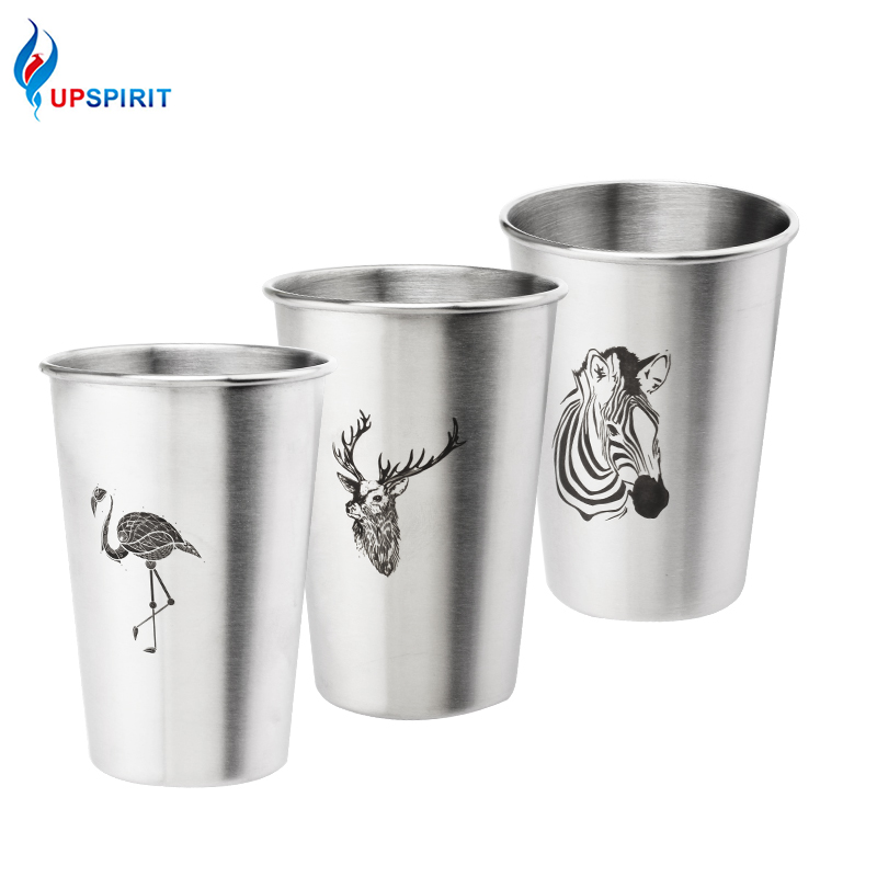 Upspirit Stainless Steel Cold Water <font><b>Cup</b></font> with Metal Straw <font><b>Coffee</b></font> Juice Beer <font><b>Cup</b></font> Flamingo Zebra Deer <font><b>Simple</b></font> Style Mug 350ML/500ML