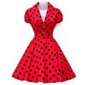 Vestidos de las mujeres del verano robe dress polka dot manga corta retra ocasional pinup rockabilly party dress 50 s 60 s columpio vestidos de época
