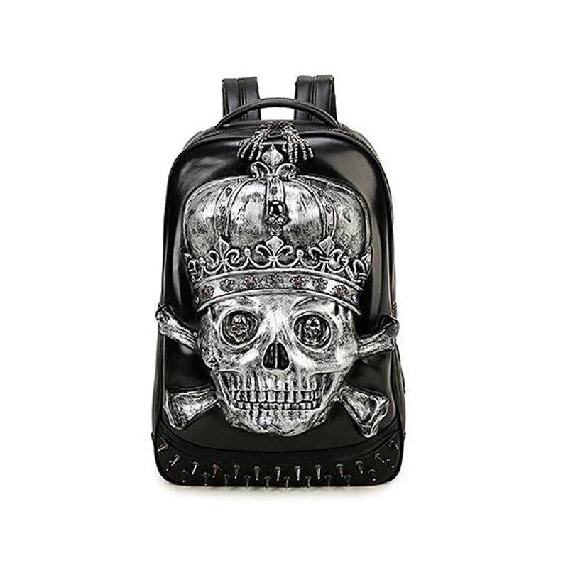 High Quality Skull PU Backpack For Men Fashion Rucksack bagpack mochila Masculina school laptop back pack цена