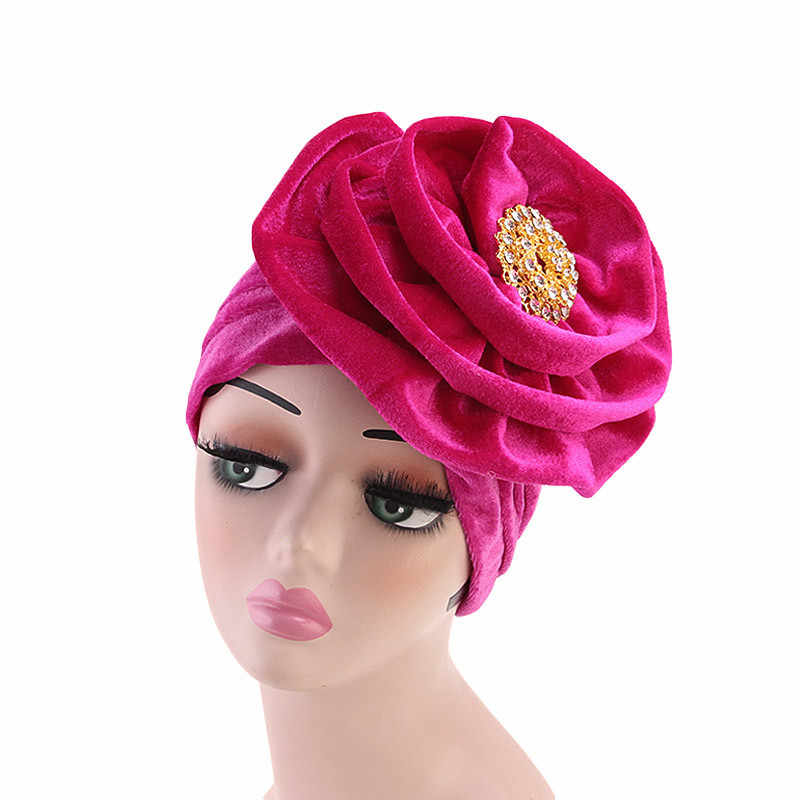 Fashion Women Velvet Turban Headband with Brooch Big Flower Hair Loss Head Scarf Party Head Covers Cap Hair Accessories