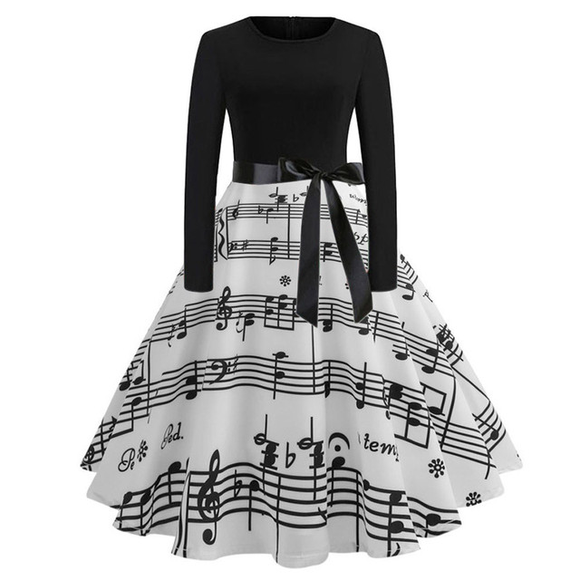 FREE OSTRICH Women Dress Fashion Vintage Music Note Printing Long Sleeve O-Neck Sexy Women Dresses Winter party Sexy Dresses
