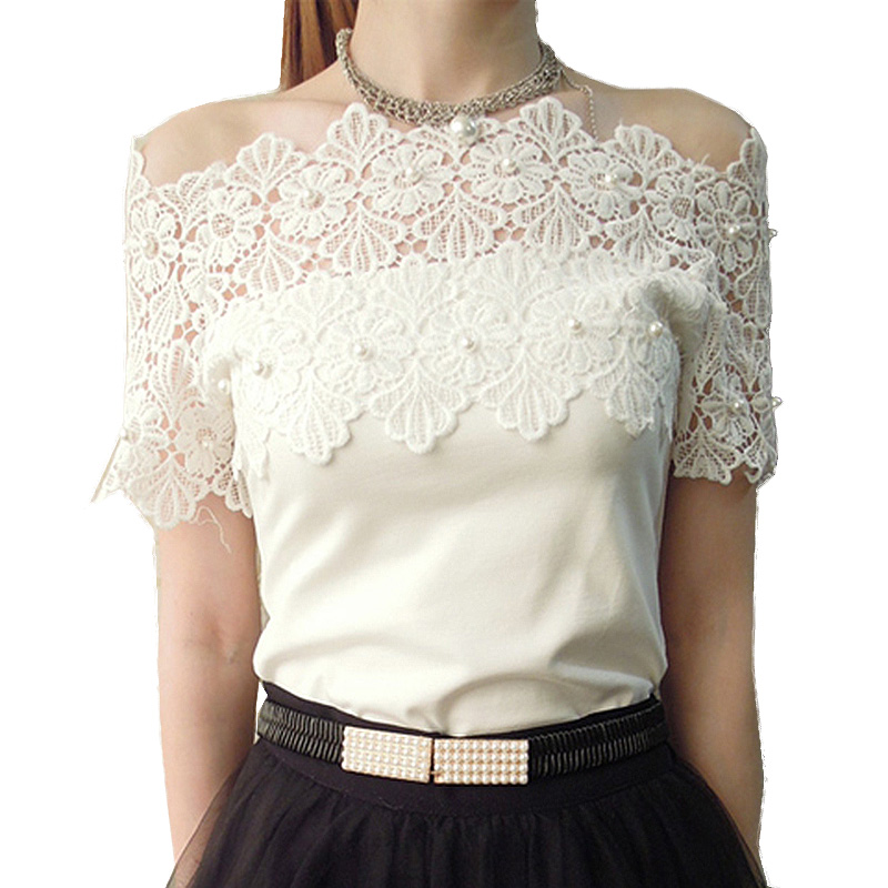 2017 Elegant t shirt women summer hollow out beading off shoulder lace tops female t-shirts new brand sexy slim tee shirt femme