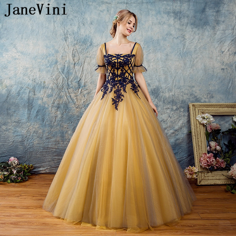 Janevini Vintage Prom Dress 2018 Gold Long Party Dress With Navy