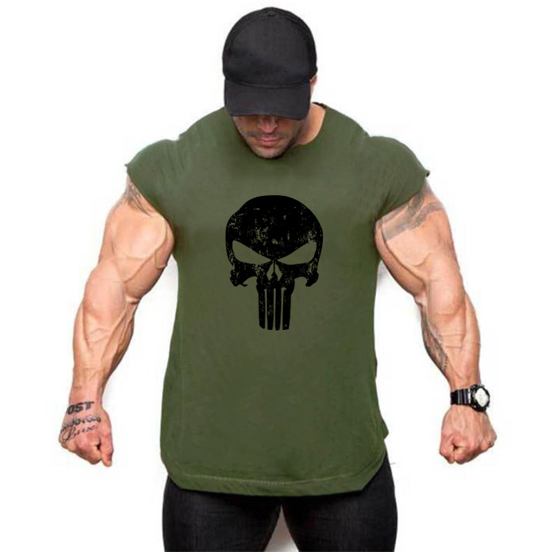 Fitness Punisher Men's Sleeveless shirt bodybuilding stringer vest cotton 2018 summer new skulls   tank     top   men gyms tanktop