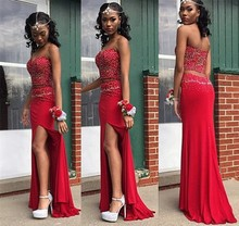 CYF44 Long Two Piece Red Prom Dresses 2016 New Style Pearls Mermaid Evening Dress Side Slit Vestido de Festa Longo Party Gown
