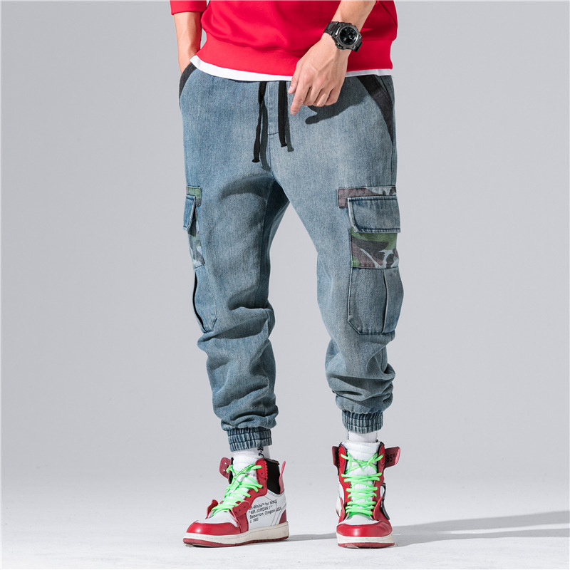 2018 New Arrival Retro   Jeans   Men Multi-pocket Hip Hop Blue Denim Men   Jeans   Pants