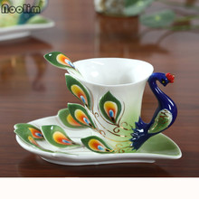 Creative Bone China 3D Color Enamel Animal Coffee Cup with Saucer and Spoon Set Ceramic Afternoon Teacups Porcelain Drinwkare