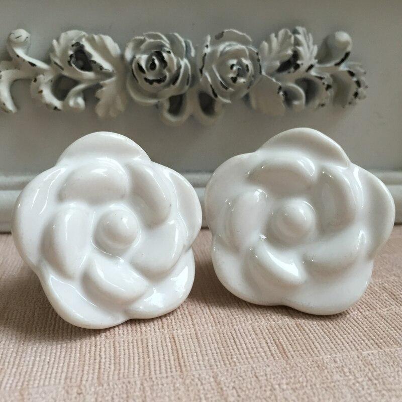 38mm White Flower Ceramic Cabinet Knobs Furniture Handle Kitchen Cupboard Wardrobe Handles Drawer Dresser Pulls with Hardware