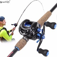 Sougayilang Telescopic Fishing Rod and Baitcasting Reel Sets Portable Lure Fishing Rod Kit Spinning Fishing Rod Rod Combo pesca