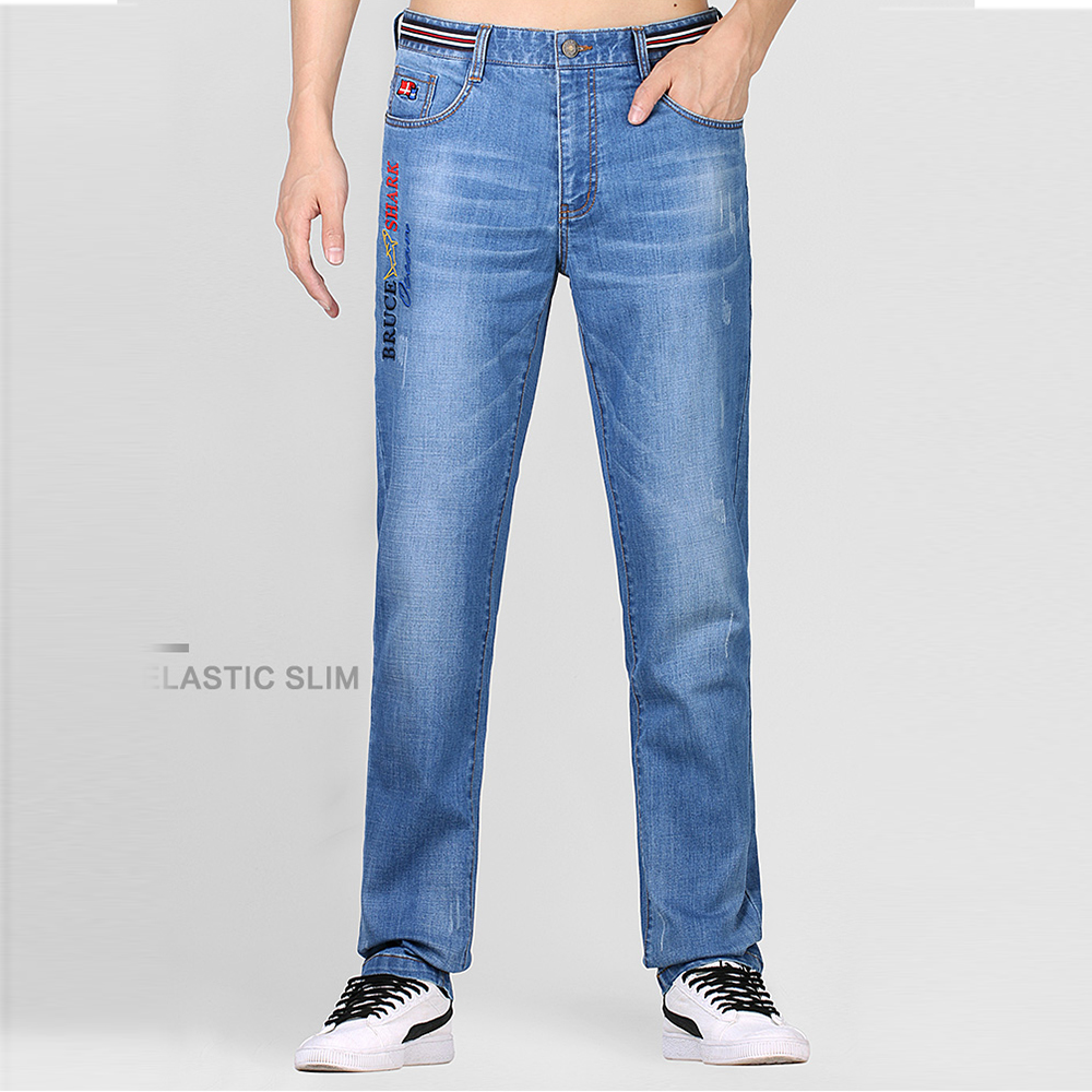 Bruce&Shark New Men Jeans Fashion Casual High Quality Embroidery Straight Leg Cotton Lightweight Little Elastic SIZE 28 To 42