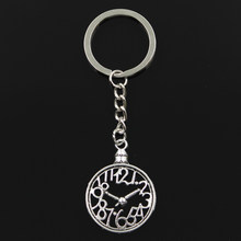 Fashion 30mm Key Ring Metal Key Chain Keychain Jewelry Antique Silver Plated pocket watch 39x29mm Pendant(China)