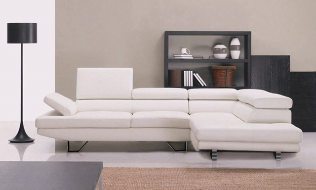 Free Shipping European And American Design Top Grain Leather Solid Wood Frame Simple White