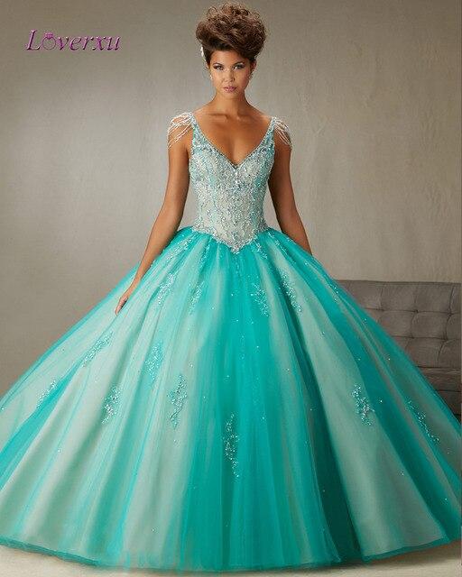 Loverxu Elegante Decote Em V Borla Azul Vestido de Baile Quinceanera 2016 Frisada de Cristal Vestido de Debutante Vestidos De 15 Años Plus tamanho