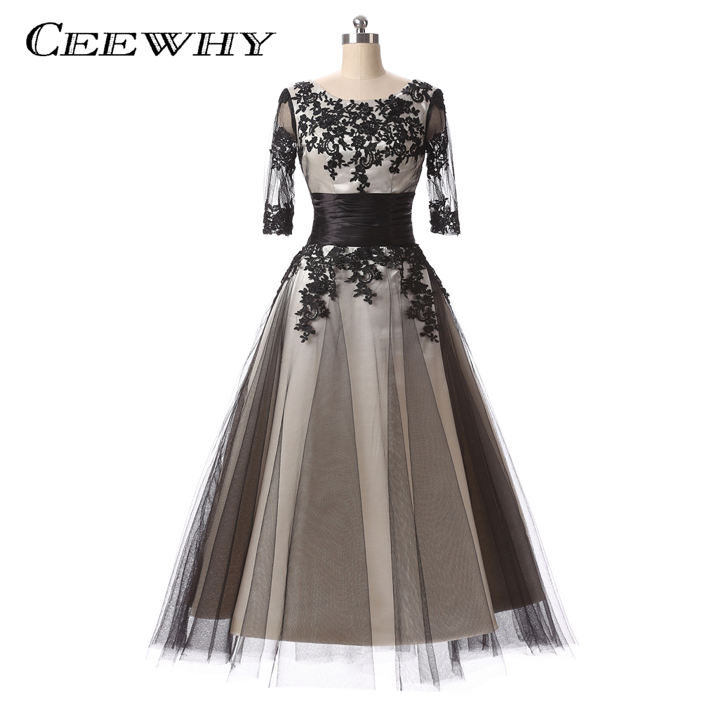 CEEWHY Half Sleeves Vintage Elegant Mid-long Coktail Dresses 2019 Embroidery Robe de Party Prom Dress Special Occasion Gowns