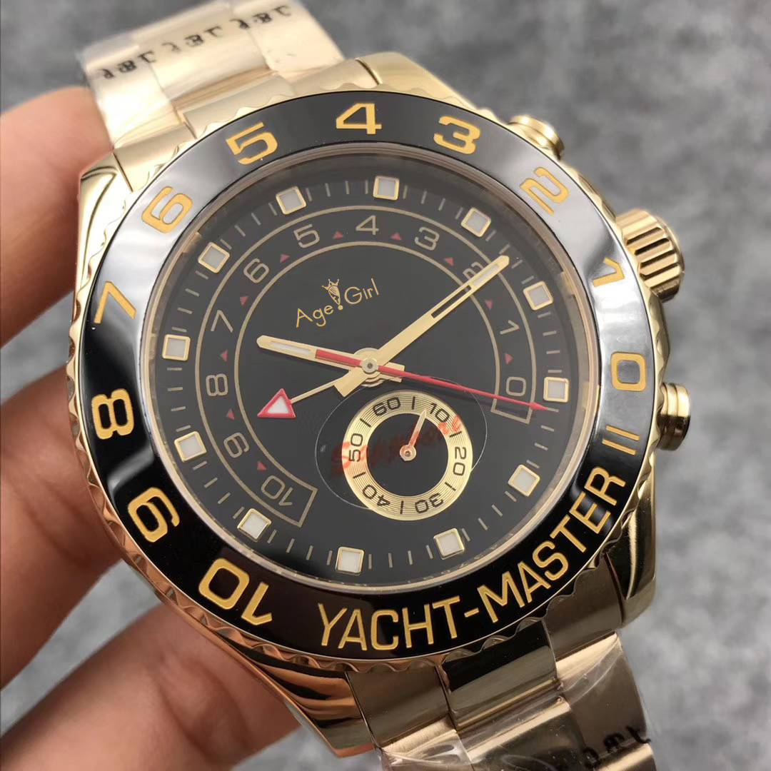 Luxury Brand New Men Watch Automatic Mechanical Blue Ceramic Bezel Stainless Steel GMT Sapphire YACHT Yellow Gold Limited Sport
