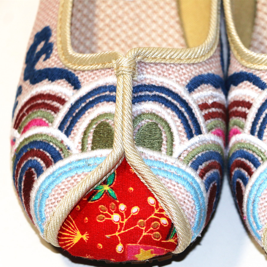 Ethnic Embroidered Women Slippers Ladies Wedges Slides Cotton Fabric Round Toe Canvas Mules Casual Pumps Shoe Propitious Clouds 5