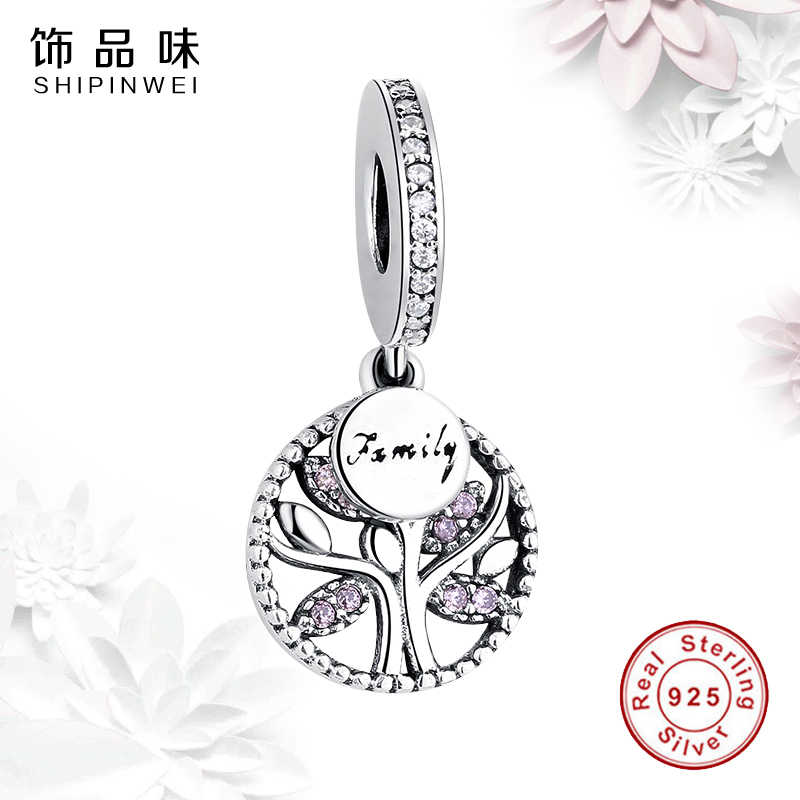 c90d620c2 ... 925 Sterling Silver Pink Clear CZ Family Charms Tree of Life Crystal  Beads Fit Pandora Bracelet ...