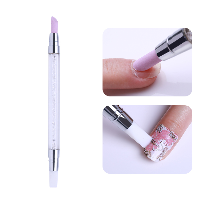 Dual-ended Nail Cuticle Pusher Remover Pen Quartz Silicon Press Scrape Rhinestone Handle Tool Nail Art Decoration Tools