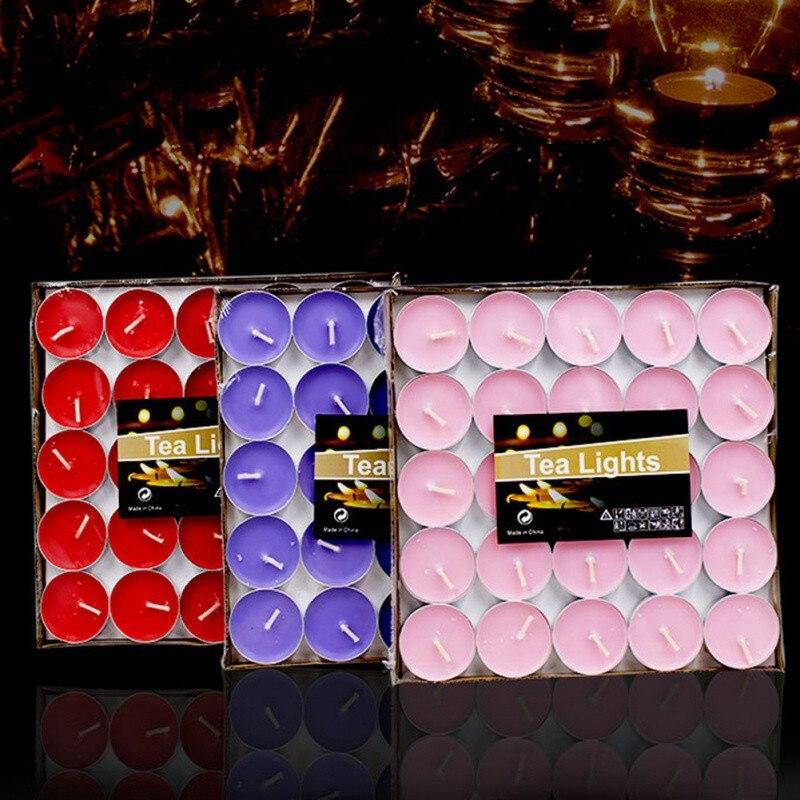 Bougies de lumière de thé de mariage cire dîner Standard mèche brûlant thé cire bougie sans fumée ronde bougie de noël Velas 5LZ024