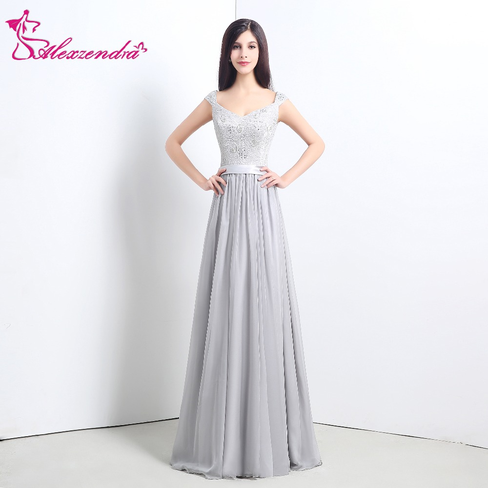 Alexzendra A Line Chiffon Bridesmaid Dress for Wedding Beads Sweetheart Silver Bridesmaids