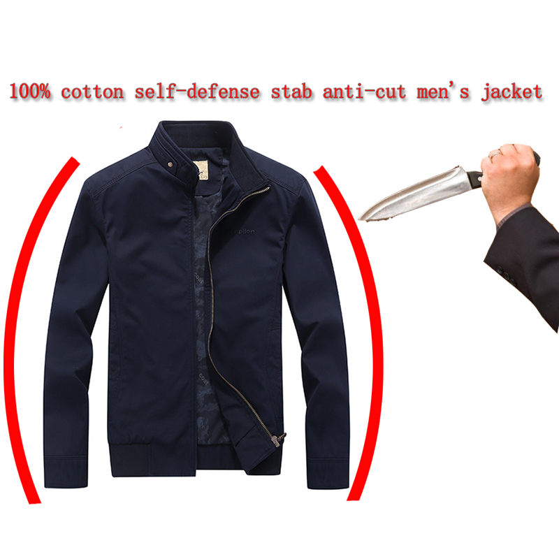 Men Stab-resistant Cut-proof Jacket 100% Cotton Fashion Casual Safety Protection Scratch-proof Bite Military Tactics Clothing