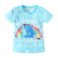 Summer Striped Girl S T Shirt Children S Clothing Cute Pattern Letters Horse Kids Clothes Baby
