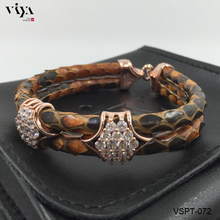 Vintage Brown Python Skin Bangle/ Bracelets For Vogue Men's Bracelet Suit Forest Style Boy High – grade Christmas Gifts