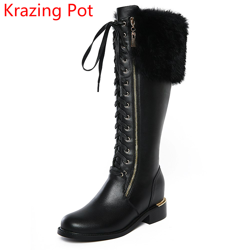 2018 New Arrival Genuine Leather Winter Shoes Med Heels Rabbit Fur Sollid Large Size Zipper Lace Up Women Knee-High Boots L8f5 women genuine leather boots rabbit fur lace high heels ankle motorcycle boots women fringe shoes winter shoes