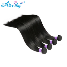 Ali Sky Brazilian straight virgin hair Natural Black 100% human hair Weave thick bundles 8-26inch freeshipping can be permed