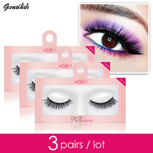 Genailish 3 pieces lot Faux Mink Eyelashes MakeUp 3D Faux Mink Lashes Mask Support Lifelike Lashes