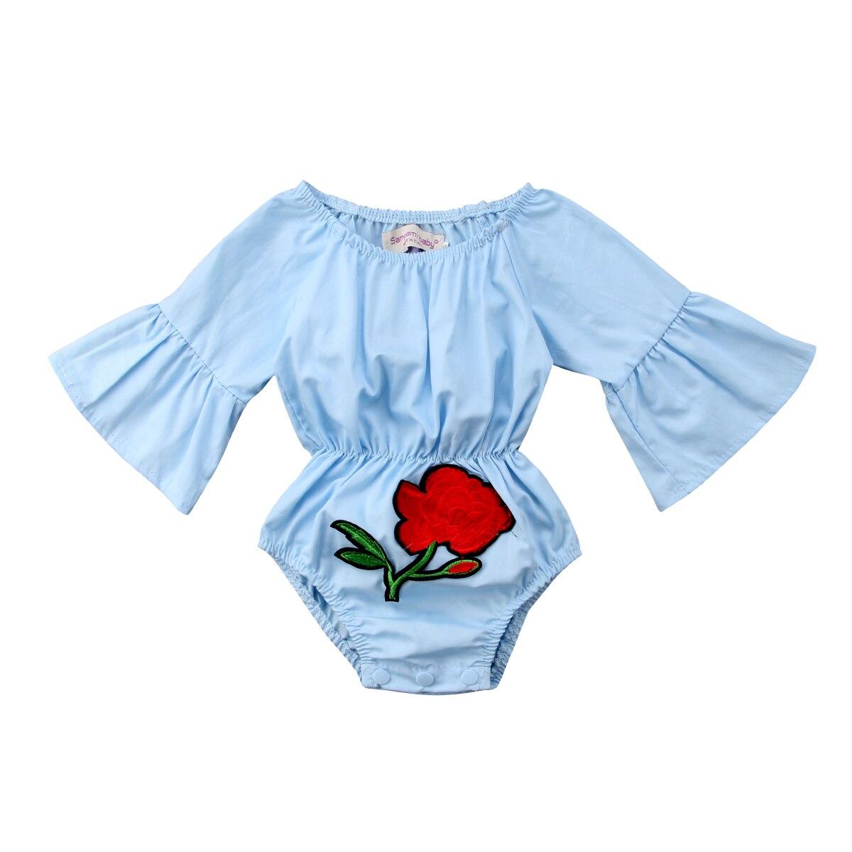 0-24 M Pasgeboren Kids Baby Meisjes Leuke Bloemen Lange Mouwen Romper Lente Zomer Blauw Jumpsuit Sunsuit Outfits Baby Meisjes Kleding Klanten Eerst