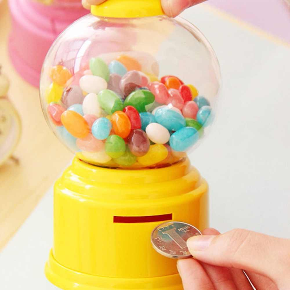 2018Creative cute candy candy Mini Gumball machine coin bank toy dispenser Price christmas store birthday gift