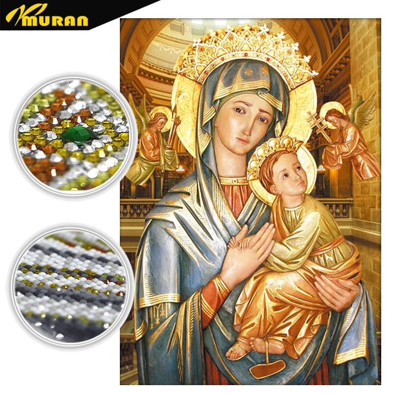 MURAN Specialformad, Diamantbroderi, Vår Fru, Religiös, 5D, Diamantmålning, Korsstygn, Diamantmosaik, Dekoration, Present