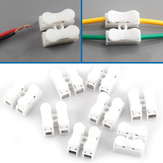 100pcs Cable Connectors Wire Connectors Splice With Clamp Terminal T10A 220V 2 Pin Quick Wire White_640x640q70 online shop 100pcs cable connectors wire connectors splice with