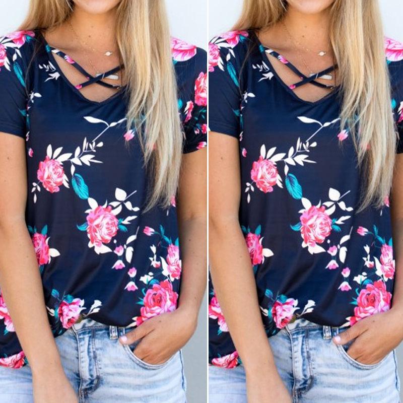2017 verano moda mujer blusa floral manga corta damas algodón casual - Ropa de mujer