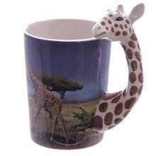 Mug Coffee-Mug Animal-Cup Toucan-Handle Panda Parrot Giraffe Ceramic 1 with Bamboo Decal