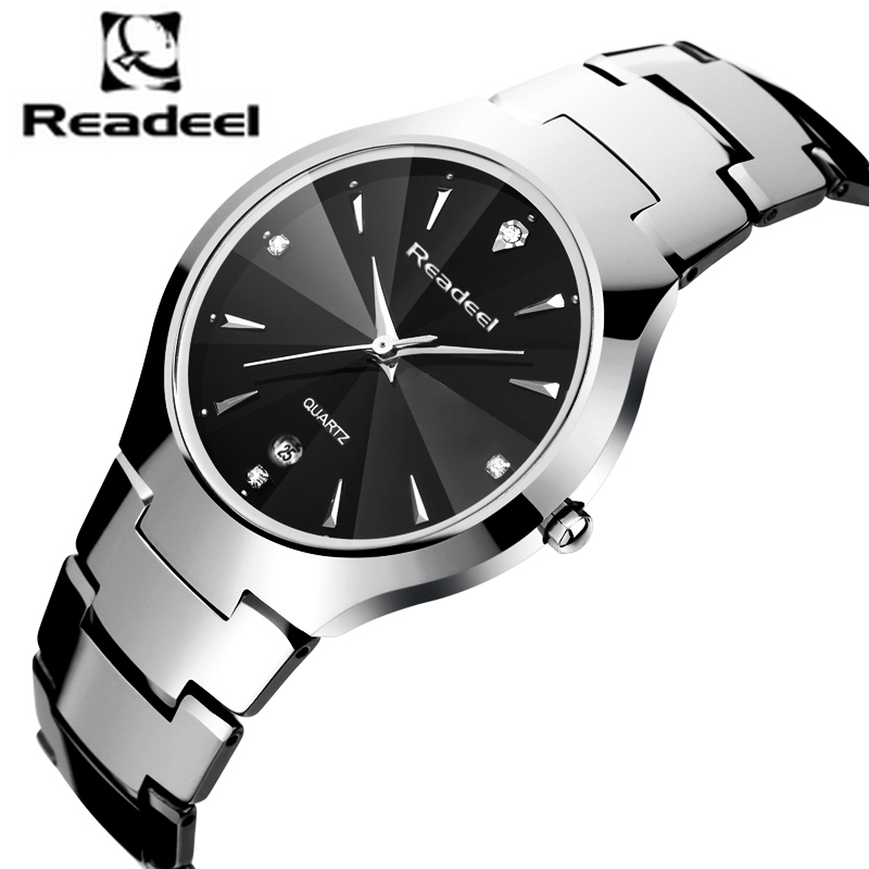 Readeel Top Luxury Brand Men Full Tungsten Steel Watches Men's Quartz Analog Watch Man Fashion Sports Army Military Wrist Watch migeer fashion man stainless steel analog quartz wrist watch men sports watches reloj de hombre 2017 20 gift