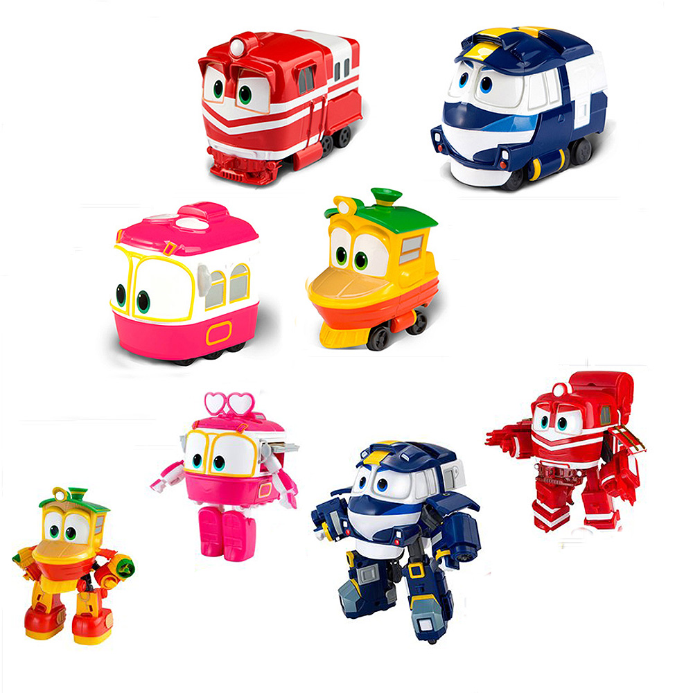 2018 Hot 8cm Robot Trains Transformation Kay Alf Dynamic Train Family Deformation Train Car action figure toys toy doll
