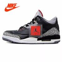 Original Nike Air Jordan 3 Black Cement AJ3 Men 's NIKE New Arrival Authentic Basketball Shoes for Women Sneakers Sport Outdoor