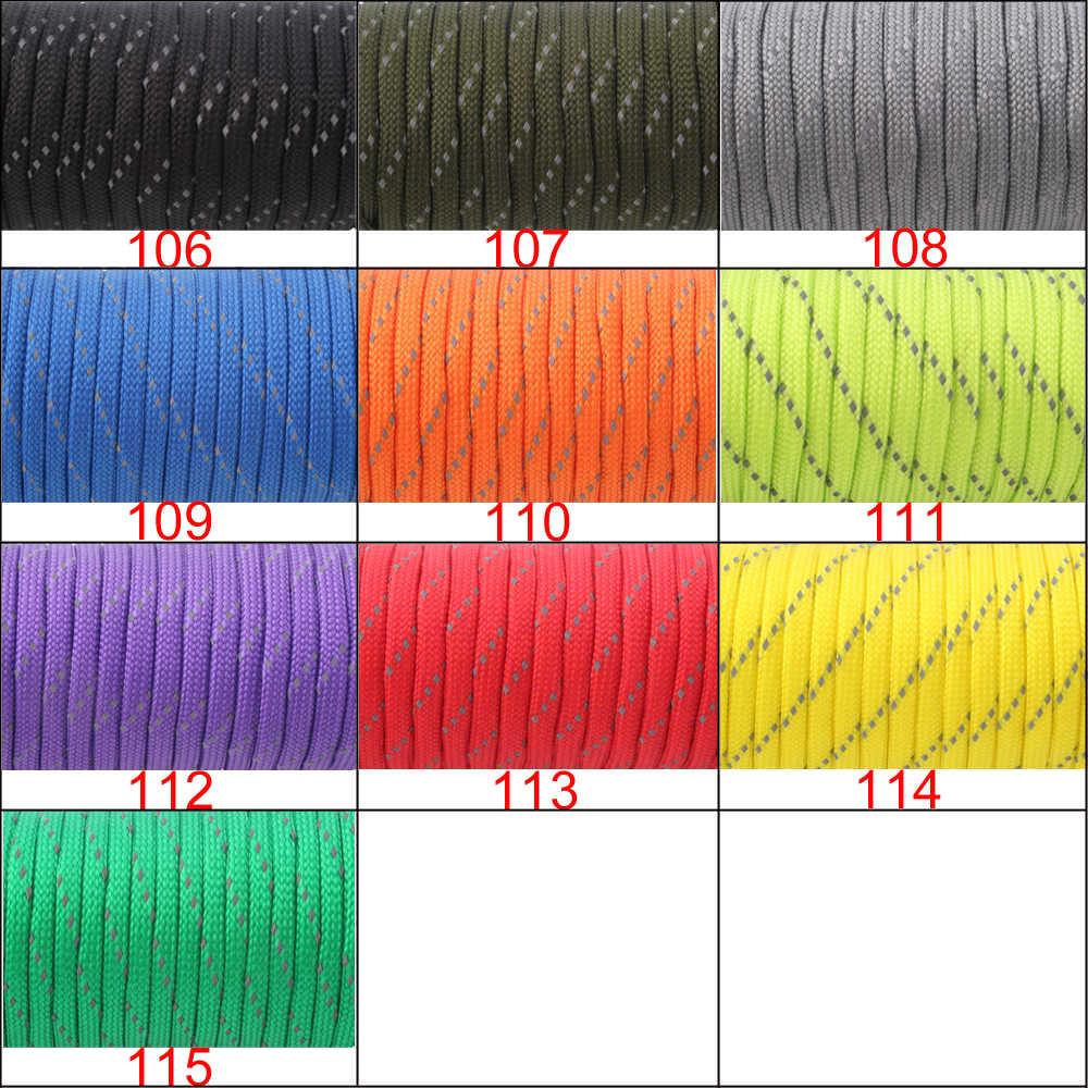 YoouPara 100 Voeten Reflecterende Paracord 10 kleuren 7 Strand Outdoor Campling Tent Wind Parachute Touw Survival Opkomst Touw Koord